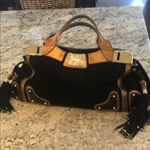 Gorgeous gold and black suede Gucci bag